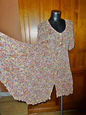 Vtg 80s India GAUZE Floral Print Boho Hippie Festival Babydoll Full skirt DRESS
