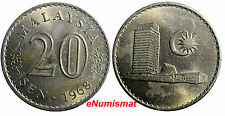 Malaysia Copper-Nickel 1968 20 Sen aUnc Condition Parliament house KM# 4