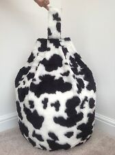 BEAN BAG COVER ONLY FAUX FUR LARGE SIZE NEW LUXURIOUS CHILDREN 3 CFT B&W COW