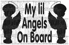 My lil Angels baby children kids boys twins on board window sign sticker VINYL