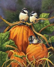 "Chickadees and Pumpkins Fall Garden Flag Thanksgiving Autumn Birds 12.5"" x 18"""