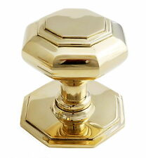 Solid Brass Octagonal Centre Door Knob – Pull Antique Front Georgian Handle 7cm