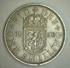 1958 Copper Nickel Uk Shilling Great Britain Coin Vf