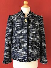 COACH Poppy Collection Blue Tweed Fringe Trim Jacket Size L