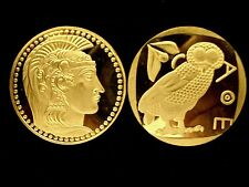 BEAUTIFUL GODDESS ATHENA SUPERB 24K GOLD LAYERED & COMPANION OWL OF ATHENS !!