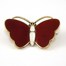 Aksel Holmsen Sterling Silver Red White Enamel Butterfly Pin Brooch