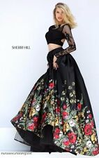 Sherri Hill 50599 Black Lace Floral 2 PC Crop Top Gala Gown Dress sz 0