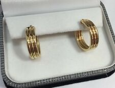 WoW Vintage 14k Yellow Gold Wide Tube Hoops Huggie Estate Drop 585 Earrings 3/4""