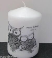 Personalised  Birthday gift  Candle Owls  Gift Wrapped