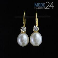 Damen Ohrringe Ohr echt 333 Gelb Gold Haken Zucht Perle n Zirkonia Hänger Weiß
