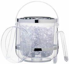 Kitchencraft Doble Pared Transparente aislados Acrílico Cubo de hielo, Tapa Y Pinzas Set