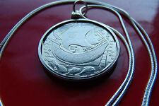 "Beautiful Portuguese Galleon Ship Coin on a 30"" 925 Sterling Silver Snake Chain"
