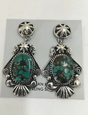 Native American Sterling Silver Navajo Green Turquoise Earrings