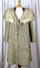 VTG NATIONAL BOARD BEIGE GRAY BOUCLE MOHAIR ARCTIC FOX COLLAR SWING COAT L/XL