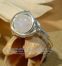 LOVELY RAINBOW MOONSTONE 925 SILVER RING - SIZE  P - 7 1/2   All sizes
