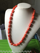 BEAUTIFUL VINTAGE CORAL BEAD NECKLACE - BARREL BEADS - ORANGE CORD