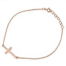 TOP TREND! Rose Gold Pltd Sideways Cross .925 Sterling Silver Bracelet