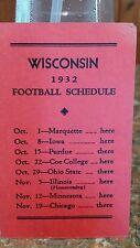 Wisconsin Badgers 1932 Football Schedule - NCAA