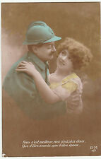Antique Postcard World War I FRENCH ROMANTIC SOLDIER & LOVER 1916 WW1 Colourised