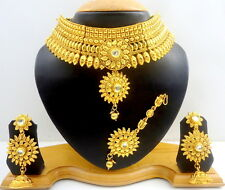 WHITE KUNDAN GOLD TONE SOUTH INDIAN BRIDAL BOLLYWOOD NECKLACE SET JEWELRY 4 PCS