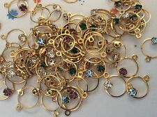 Vintage Brass Circles 1 loop Multi colour Rhinestones 10mm Pack 10 Post Free
