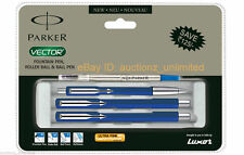 Parker Set Vector Standard CT Combo Roller Ball +Ballpen +Fountain Pen Blue Body