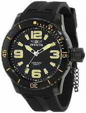 Mens Invicta 1676 Specialty Black Dial Yellow Numbers Large Swiss Quartz Watch