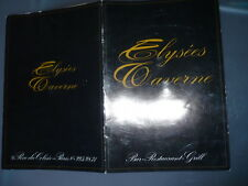 MENU RESTAURANT ELYSEES CAVERNE PARIS 1968