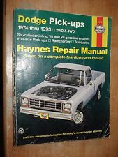 1974-1993 DODGE TRUCK SERVICE MANUAL HAYNES SHOP BOOK RAM TRAILDUSTER RAMCHARGER