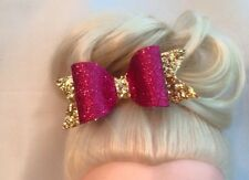 Gold & Cranberry  Glitter Fabric Hair Bow Clip Bobble 5""
