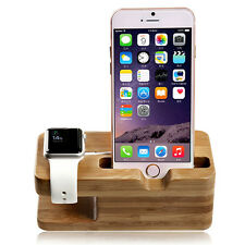 Natural Bamboo Wood Charger Dock Stand Holder For Apple Watch iPhone Cellphone