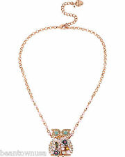 Betsey Johnson B09974-N01 Rose Gold Woven Owl Pendant Womens Necklace