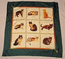"Adrienne Vittadini Silk Scarf 9 Different Breeds CATS GREEN Kitty LOVE 35""x35"""