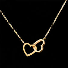 HERZKETTE Damen Partnerkette Herzen 45 cm Halskette Kette Edelstahl gold | Neu