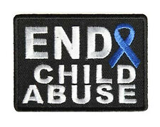 END CHILD ABUSE BLUE RIBBON IRON ON AWARENESS  PATCH