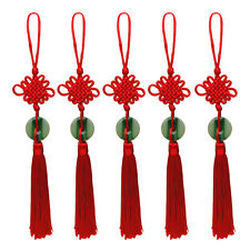 Red Tassel Faux Jade Pendant Chinese Knot Hanging Decor For Auto Handmade Gift
