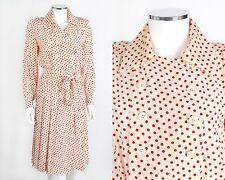 YVES SAINT LAURENT RIVE GAUCHE c.1980s IVORY RED POLKA DOT SILK SHIRT DRESS 36