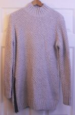 NWT BANANA REPUBLIC Wool Blend Side Zip Turtleneck Cableknit Tunic Sweater Sz M