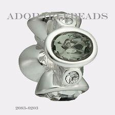 Authentic Chamilia Silver Black & White Majestic Ovals Bead *RETIRED* 2083-0203