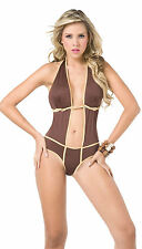 NEW 2057 Exotic Monokini Brown Gold Dance Bikini Rave Club Wear S Small LAST ONE