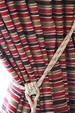 """Redoublé de luxe énorme paire rideaux velours lourd Stripe rouge crème 77 """"x 106»"""