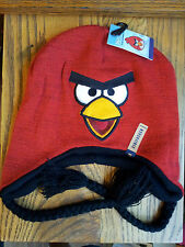 Angry-Birds-Knit-Hat-Boys-Girls-Red-Bird-Embroidered-Face-Reversible-Tassels-OS