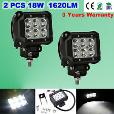 2x 18W Cree LED Work Light Lamp Bar Flood Beam Jeep Tractor Truck SUV 12v 24v CE