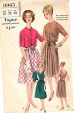 "Vintage 1960s Vogue Sewing Pattern Women's DRESS & BOLERO 9965 Sz 18 B40"" UNCUT"