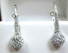 NATURAL VS2 Center Diamond Earrings Halo Diamond 14K white Gold FREE App $2,790