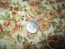 Vintage GOLD EDGE BROWN FLOWERS On  CREAM 1980's Heavy COTTON Fabric-shy 2 yd