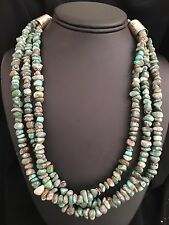Native American Sterling Silver   Turquoise Necklace 18 Inches