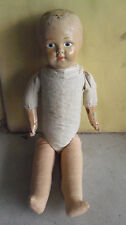 """Vintage 1915 Louis Amberg LA&S Composition Cloth Boy Character Doll 15"""" Tall"""
