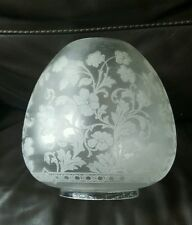 "Victorian Best Quality Engraved Crystal Etched Glass Oil Lamp Shade Duplex 4"" A1"