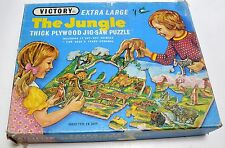 VINTAGE Victory Jungle Animal Thick PLYWOOD JIGSAW PUZZLE 100 Pieces Complete
